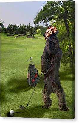 Doggy Cards Canvas Print - Terrier Golfing Putting Greens by Regina Femrite