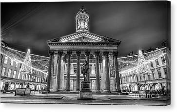 Goma Glasgow Lit Up Mono Canvas Print by John Farnan