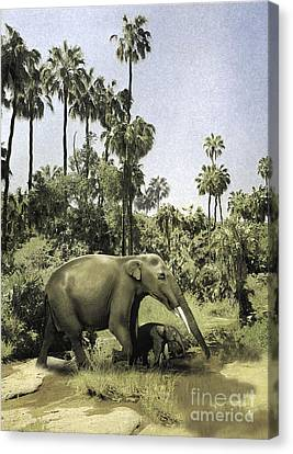 Gomphotherium Guiding Its Offspring Canvas Print by Jan Sovak