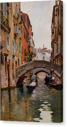Gondola On A Venetian Canal Canvas Print by Rubens Santoro