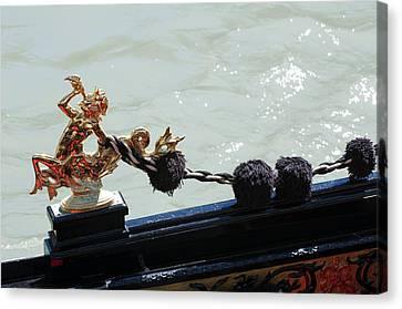 Gondola Ornament Triton Blowing A Seashell Venice Italy Canvas Print by Sally Rockefeller