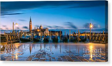 Gondolas At Dawn With High Tide - Venice - Italy Canvas Print by Matteo Colombo