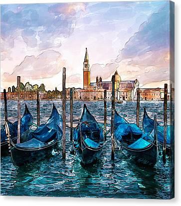 Italian Landscape Canvas Print - Gondolas In Venice Watercolor by Marian Voicu