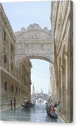 Gondolas Passing Under The Bridge Of Sighs Canvas Print by Giovanni Battista Cecchini