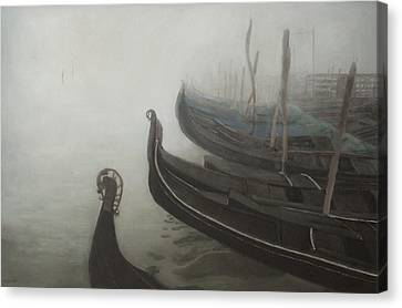 Gondolas Tied Up Canvas Print