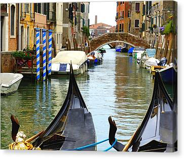 Venice Canvas Print - Gondolas To The Fore by Bishopston Fine Art