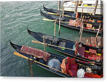 Gondolas Waiting For Tourists In Venice Canvas Print