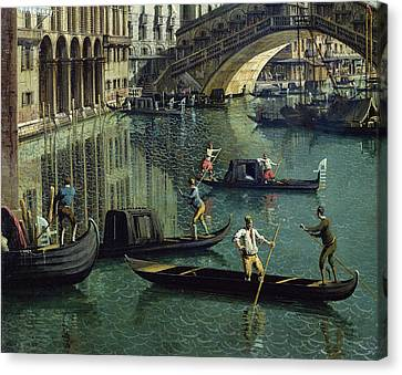 Gondoliers Near The Rialto Bridge, Venice Oil On Canvas Detail Of 155335 Canvas Print by Canaletto