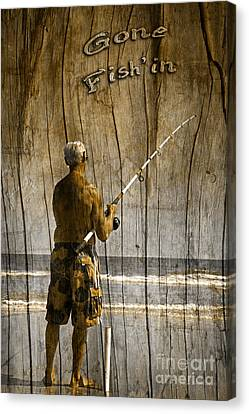 Gone Fish'in Text Driftwood By John Stephens Canvas Print by John Stephens