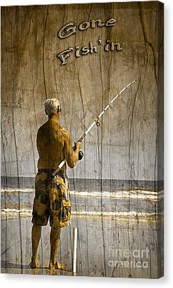 Gone Fish'in With Text Driftwood By John Stephens Canvas Print by John Stephens