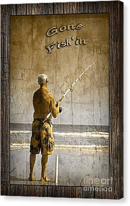 Gone Fish'in With Text Rustic Wood Border By John Stephens Canvas Print by John Stephens