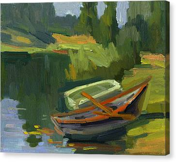 Rowboat Canvas Print - Gone Fishing by Diane McClary