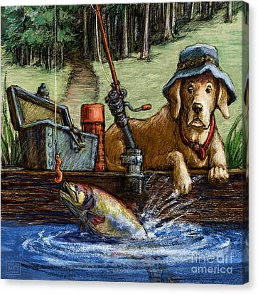 River Canvas Print - Gone Fishing by Kathleen Harte Gilsenan