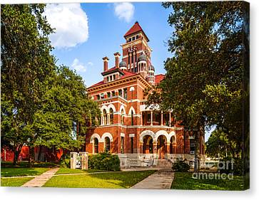 Gonzales County Courthouse In 100f - Summer In Texas Canvas Print by Silvio Ligutti
