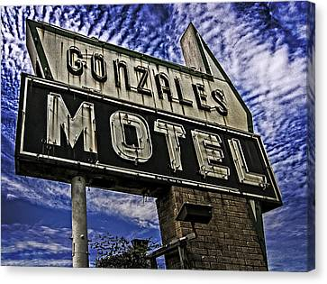 Canvas Print featuring the photograph Gonzales Motel In Color by Andy Crawford