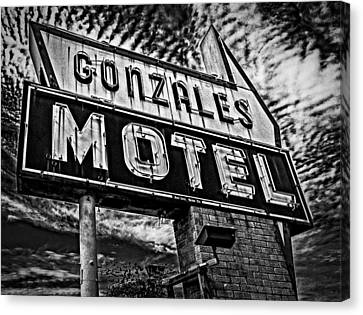 Canvas Print featuring the photograph Gonzales Motel Sign by Andy Crawford