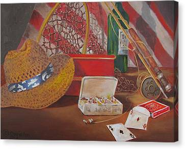 Canvas Print featuring the painting Good Day Fishing by Tony Caviston