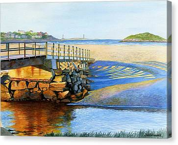Good Harbor Footbridge Canvas Print by Deb  Schradieck