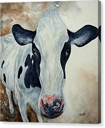 Canvas Print featuring the painting Good Mooo To Youuu by Thomas Kuchenbecker