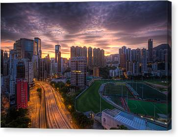 Canvas Print featuring the photograph Good Morning Hong Kong by Mike Lee