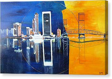 Canvas Print featuring the painting Good Morning Jacksonville by Gary Smith