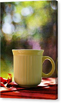 Picnic Table Canvas Print - Good Morning by Laura Fasulo