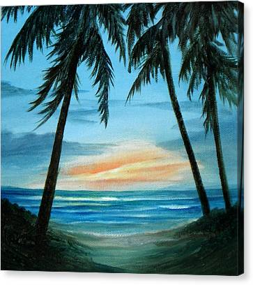 Good Morning Sunshine - Seascape Sunrise And Palm Trees By Rosie Brown Canvas Print