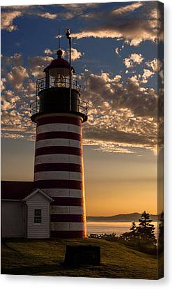 Good Morning West Quoddy Head Lighthouse Canvas Print by Marty Saccone