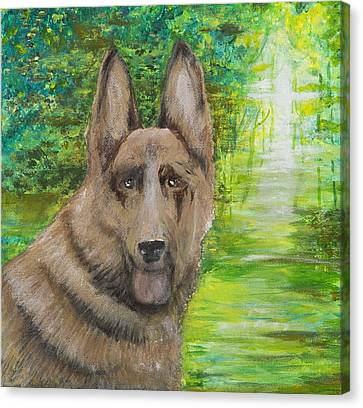 Canvas Print featuring the painting Good Old Shep by Cathy Long