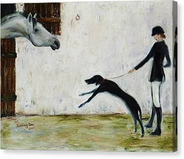 Greyhound Canvas Print - Good To See You Again by Xueling Zou