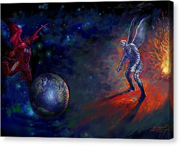 Destruction Canvas Print - Good Vs Evil by Ylli Haruni