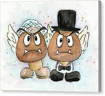 Goomba Bride And Groom Canvas Print by Olga Shvartsur