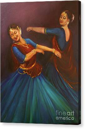 Gopis Dancing To The Flute Of Krishna Canvas Print