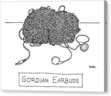 Gordian Ear Buds -- A Huge Ball Of Tangled Canvas Print