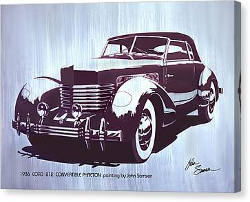 Virgil Canvas Print - Gordon Buehrig's Dream Car  1936 Cord   Convertible Classic Automotive Art Sketch Rendering         by John Samsen