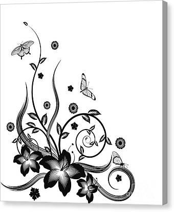 Gorgeous Black Corner Floral Design Canvas Print by Christos Georghiou