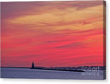 Gorgeous Connectiut Lighhouse Sunset Canvas Print by Cindy Lee Longhini