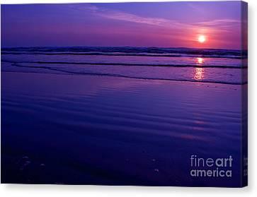 Gorgeous Ocean Sunset Long Beach Washington Canvas Print by Valerie Garner