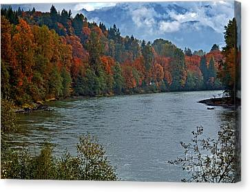 Gorgeous River With Mountains In Autumn Canvas Print by Valerie Garner