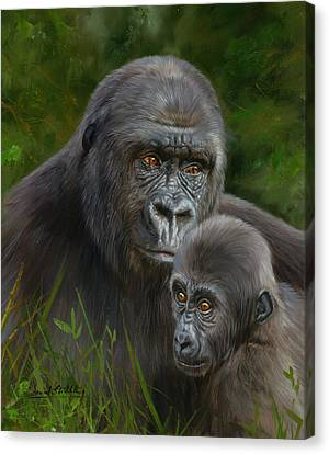 Ape Canvas Print - Gorilla And Baby by David Stribbling
