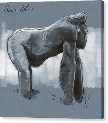 Canvas Print featuring the digital art Gorilla Sketch by Aaron Blaise