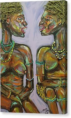 Gossip Canvas Print by Lucy Matta