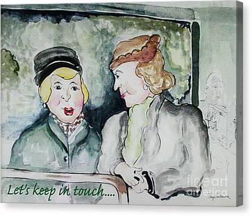 Gossip On The Bus Canvas Print by Joyce Gebauer