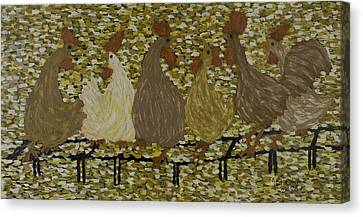Gossiping Chickens Canvas Print by Kurt Olson