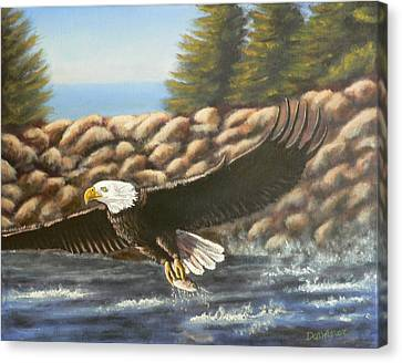 Canvas Print featuring the painting Gotcha by Dan Wagner