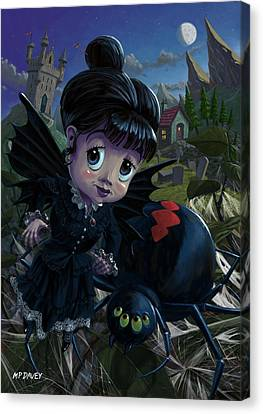 Goth Girl Fairy With Spider Widow Canvas Print by Martin Davey