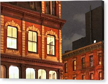 Gotham By Night - New York City Canvas Print by Mark E Tisdale