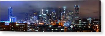 Gotham City - Los Angeles Skyline Downtown At Night Canvas Print by Jon Holiday