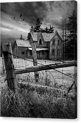 Gothic Abandoned Farm House In Ontario Canada Canvas Print by Randall Nyhof