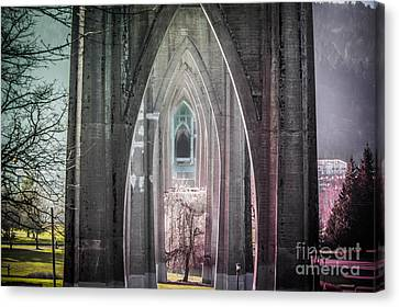 Gothic Arches Hands Folded In Prayer Canvas Print by Patricia Babbitt